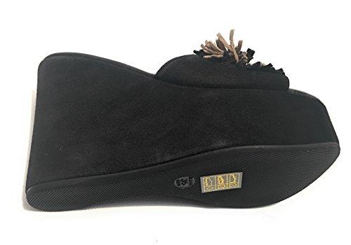 Chaussures Femme Vouloir Destate Sabot Wedge Tc 120 Pl 40 Suede Noir Ds17ve05