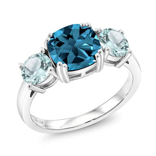 Gem Stone King 925 Sterling Silver London Blue Topaz and Sky Blue Topaz Meghan Ring (3.74 Ct Cushion, Gemstone Birthstone, Available in size 5, 6, 7, 8, 9)