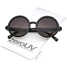 zeroUV - Classic Retro Horn Rimmed Neutral-Colored Lens Round Sunglasses 52mm