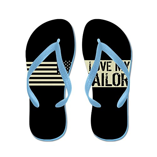 CafePress U.S. Navy: I Love My Sailor (Black Flag - Flip Flops, Funny Thong Sandals, Beach Sandals