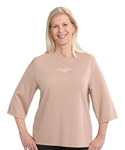 Silverts Disabled Elderly Needs Womens Adaptive Top - Clothing for Disabled Adults - Taupe Med