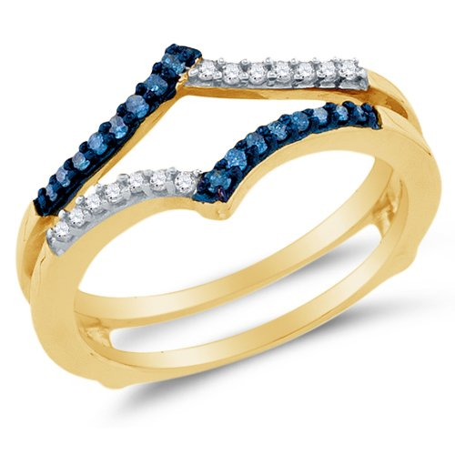Size 9.5 - 10K Yellow Gold Blue & White Round Diamond Ring jacket Wedding Band Ring - Channel Setting - Curved Notched Band (1/5 cttw.) by Sonia Jewels