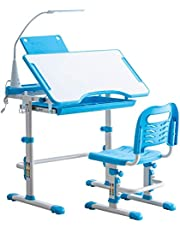 RUN.SE Kids Functional Desk and Chair Set - Height Adjustable Children Study Table with Wood Tabletop, Bookstand, Pull-Out Drawer Storage and Touch Led for School Students, Blue