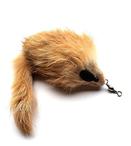 Fur Teaser Cat Toy (Cat Wand Refill - Real Rabbit Fur MOUSE- Carmel Color)