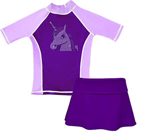 grUVywear Girls Rash Guard Sun Protective UV Swim Shirt & Bikini Swim Skirt Set, Purple Unicorn Magic | Large / 9-10
