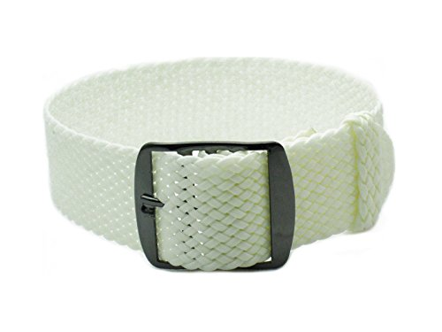 HNS 20mm White Perlon Tropic Braided Woven Watch Strap with PVD Buckle