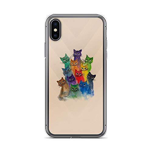 (iPhone X/XS Pure Clear Case Cases Cover Cats, Lots of Cats Colorful)