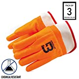 Troy Safety Heavy Duty Premium Sandy finished PVC Coated-Supported Glove with Safety Cuff, Chemical Resistant, Large, Fluorescent Orange (3 Pairs)