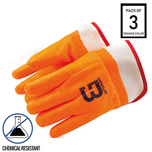Troy Safety Heavy Duty Premium Sandy finished PVC Coated-Supported Glove with Safety Cuff, Chemical Resistant, Large, Fluorescent Orange (3 Pairs) by Troy Safety (Image #8)