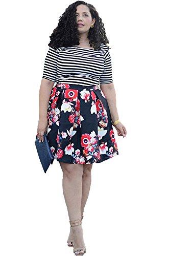 Plus Size A Line Jupe Floral T-Shirt