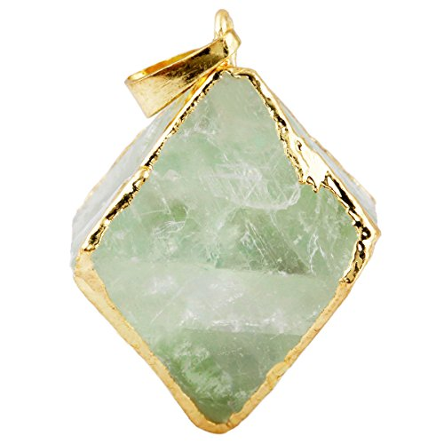 SUNYIK Natural Green Fluorite Crystal Quartz Rhombus Pendant Pointed Healing Stone for Necklace (Fluorite Green Necklace)