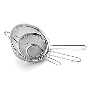 Culina Fine Mesh Stainless Steel Strainers, Silver, Set of 3