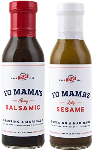 Gourmet Natural Dressing and Marinade Combo Pack by Yo Mama's Foods - (1) 15 oz Bottle Bold Balsamic and (1) 13 oz Bottle Zesty Sesame - Low Sugar, Low Cal, Low Carb, Low Sodium, and Gluten-Free!