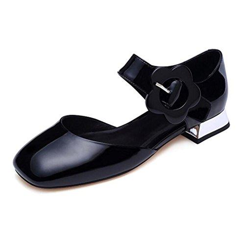 MUMA Zapatos de tacón 2018 Summer New Sandals Zapatos de tacón alto de tacón bajo femenino Zapatos de mujer de Baotou Fashion Black White Apricot ( Color : Blanco , Tamaño : EU38/UK5.5/CN38 ) Negro