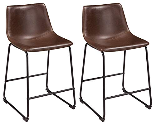 (Ashley Furniture Signature Design - Centiar Counter Height Barstool - Set of 2 -  Mid Century Modern Style - Black Metal Base - Brown Faux Leather Bucket Seat)