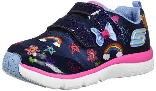 Skechers Kids Girl's Jump Lites Shoe, Navy/Multi, 10 Medium US Toddler