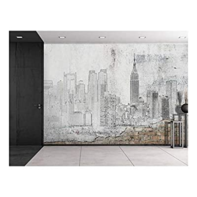 Dazzling Style, That's 100% USA Made, Black Outline of New York City on a Brick Wall Wall Mural