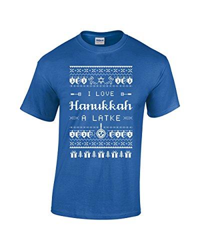 - I Love Hanukkah A Latke Shirt - Funny Jewish Hanukkah Holiday - Chanukah Festival of Lights Men's T-Shirt (Small, Royal Blue)