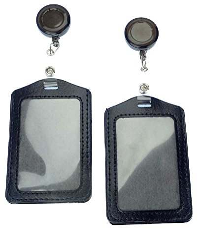 Retractable ID Badge Holder with Reel and Belt Clip for Name Badges and ID Cards, Leather, Pack of 2