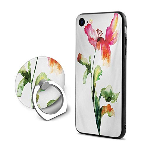 Nordstrom Flowers Ring - Watercolor Flower iPhone 7/iPhone 8 Cases,Shaded Single Poppy Flowering Plant Muse Nature Earth Divine Grace Red Green White,Design Mobile Phone Shell Ring Bracket
