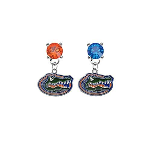 Florida Gators Orange & Blue Crystal Stud Post Dangle Earrings