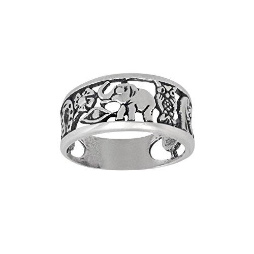 DTLA Sterling Silver Lucky Charm Elephant, Horse Shoe, Owl, Seven 7, Evil Eye, Four Clover Flower Ring (9) (Small Horseshoe Charm)