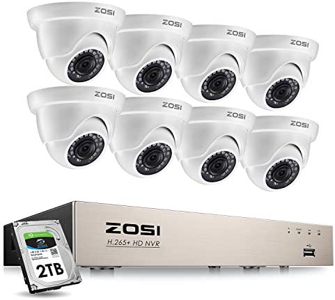 ZOSI 8CH PoE Home Security Camera System,H.265+ 8 Channel 5MP NVR Recorder with 2TB Hard Drive,8pcs Wired 1080P Outdoor Indoor PoE IP Dome Cameras with Night Vision, Motion Alert, Remote Access