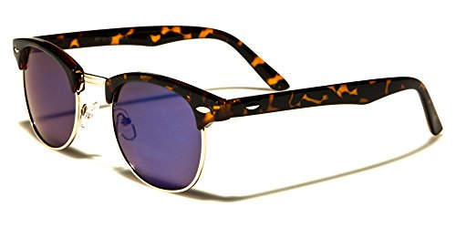 Tortoise Gold Colored Mirror Style Half Frame Sunglasses Shades Vintage Classic - Coloured Mirrored Aviators
