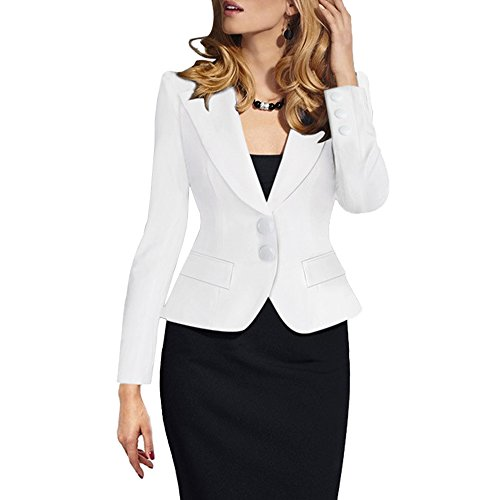 (SEBOWEL Women's Casual Work Solid Long Sleeve Slim Fitted Office Blazer Suit Jacket White M)