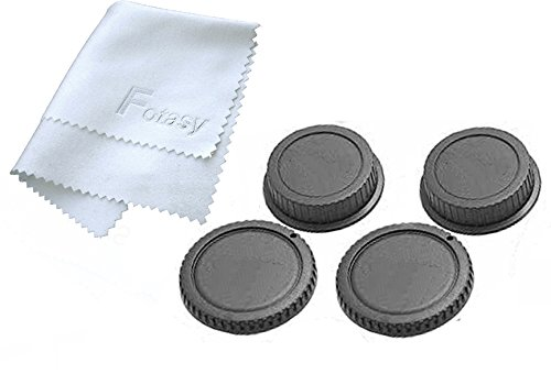 Fotasy RBC2 2x Rear Lens Cover and Camera Body Cap Set, Cleaning Cloth for Canon EOS DSLR (Black)