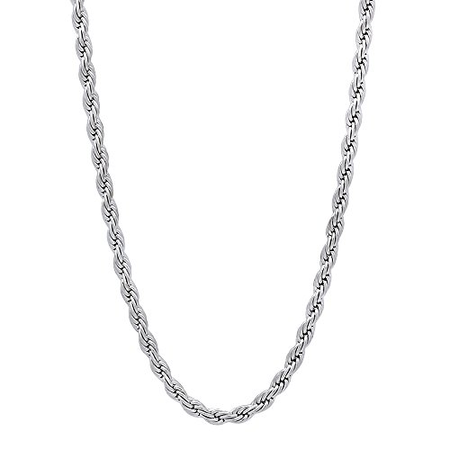 The Bling Factory 2.4mm Rhodium Plated French Rope Chain Necklace, 24