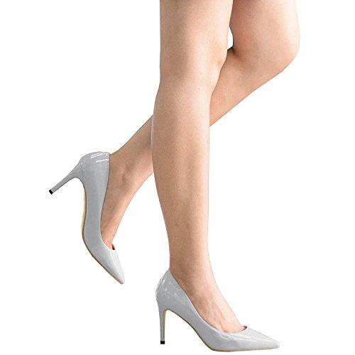 Lovirs Womens Basic Basic Slip On Pumps Tacco Medio A Punta Tacco A Stiletto Per Abito Party In Vernice Grigia