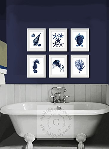 navy blue and coral wall art - 7