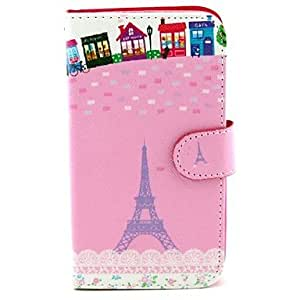 YULIN Eiffel Tower Design PU Leather Full Body Case with Stand and Card Slot for Samsung S5 I9600