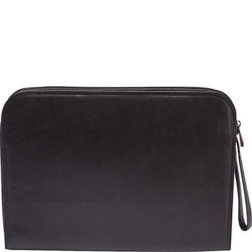 Tanners Avenue Leather Underarm Portfolio with Zip Closure (Black)