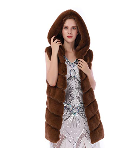 Dikoaina Women's Faux Fox Fur Vest Sleeveless Long Fur Jacket Waistcoat Warm Coat Outwear (M, Rabbit Brown)