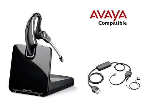 Avaya Compatible Plantronics CS530 VoIP Wireless Headset Bundle with Electronic Remote Answer/End and Ring Alert (EHS) for Avaya Phones: 16xx, 96xx IP Phones