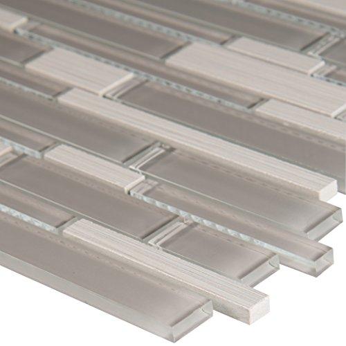 Glacier Tile Flooring - MS International SGLSIL-METGLA8MM Metro Glacier Interlocking Glass Stone Mesh-Mounted Mosaic Tile 12 x 12 in. x 8 mm, (10 sq. ft./case)