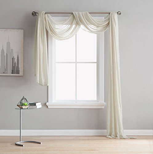 "LinenZone Jane - Semi-Sheer Window Scarf (54 x 144) - Elegant Home Decor Window Treatments - Add to Window Curtains for Enhanced Effect (1 Scarf 54"" x 144"", Beige)"