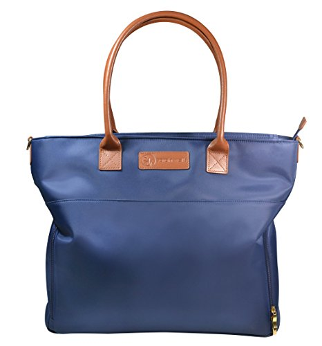"""Sarah Wells """"Abby"""" Breast Pump Bag, Real Leather Straps (Navy)"""