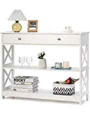 Giantex 3-Tier Console Table with Drawers, Compact Sofa Table with Drawers, 2 Shelves and Spacious Desktop, Elegant Entryway Table, Modern Hallway Side Table, Wood Sideboard for Living Room, Office, Foyer, Corridor
