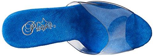 Pleaser Women's Ado701lg/C/Blg Platform Sandal Clear/Blue Holograms/Glitter Ni3PO5cUTW