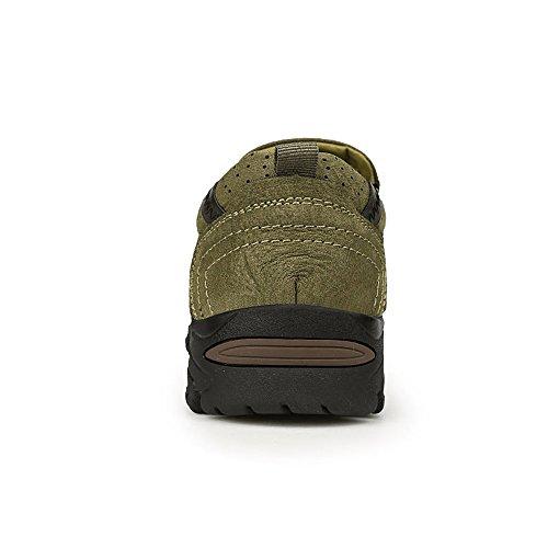 Enllerviid Uomo Morbido Moc Toe Slip On Mocassini Larghi Oxford Vestito Di Pelle Scarpe Da Lavoro 8607 Verde Militare
