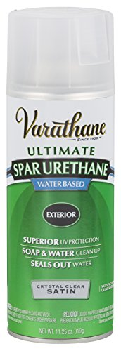 Rust-Oleum Varathane 250281 Outdoor Spar Urethane Crystal Clear Water Based Spray, Satin Finish (Clear Satin Spray Paint)