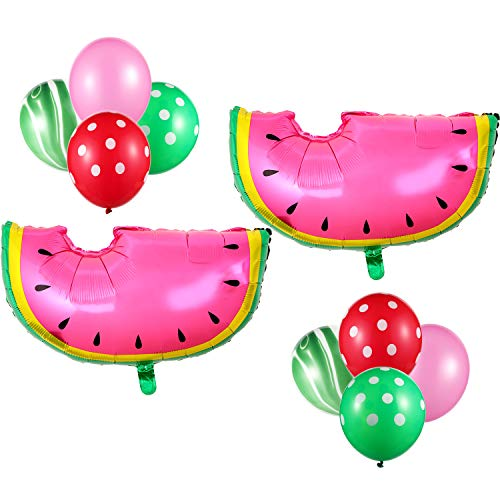 22 Pieces Watermelon Theme Decorations Set, Watermelon Balloons Latex Foil Balloons Green Agate Balloons Polka Dot Red Green Balloons for Summer Weddings Birthday Party Supplies