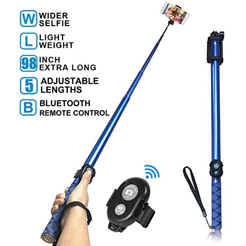Ultra Long Selfie Stick,Extra Length 98.4 Inch Extendable Self-portrait with Built-in Bluetooth Wireless Remote Shutter for iPhone,Samsung,Huawei All IOS Android Smart Phones by topfit