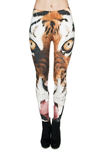 Leggings largos elásticos tupidos para mujer para fitness, entrenamiento, yoga o running Tigre