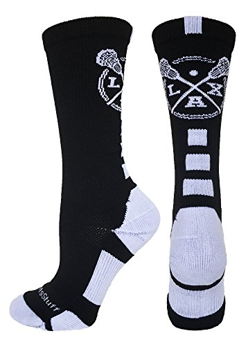 MadSportsStuff LAX Lacrosse Socks with Lacrosse Sticks Athletic Crew Socks (Black/White, Medium)