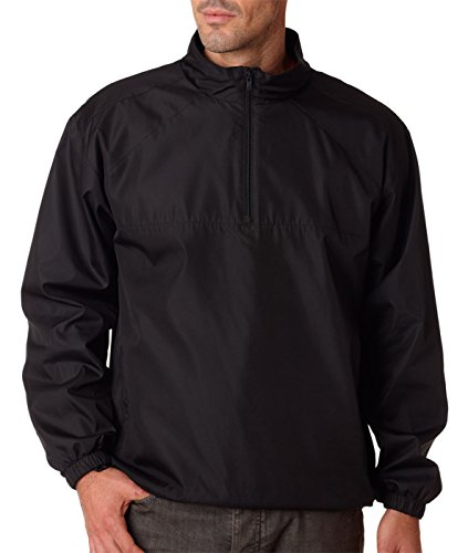 Ultraclub Adult Micro-Poly 1/4-Zip Windshirt, Blk, XXXX-Large Adult Micro Poly Pullover Jacket