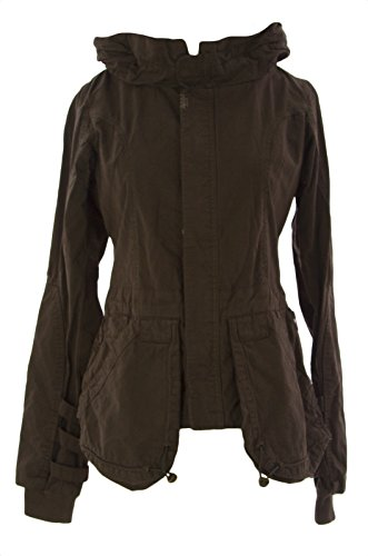 FORNARINA-Womens-Kent-Cotton-ButtonZip-Jacket-Army-Green